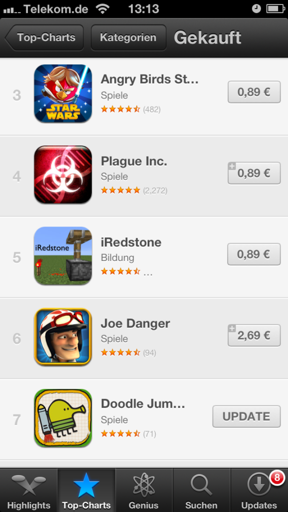 iRedstone in the AppStore Charts